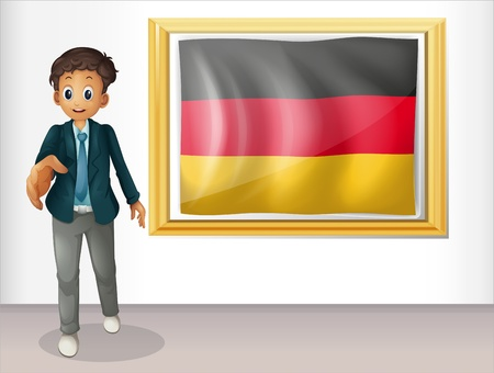 deutsch: Illustration of a boy beside the framed flag of Germany on a white background Illustration
