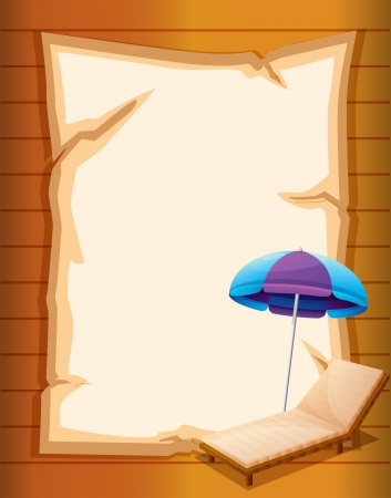 Illustration of a paper with a beach umbrella and a wooden bench Vector
