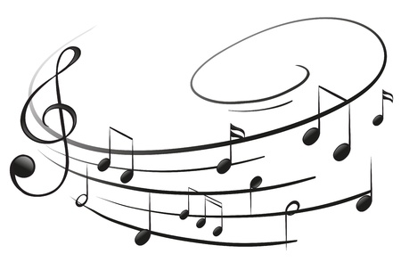 白い背景の上の G 音部記号と音符のイラスト