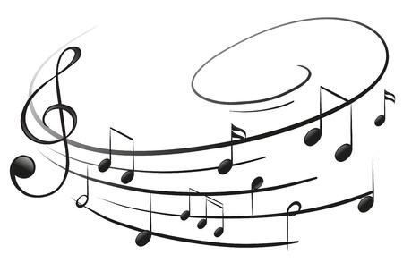note musicali: Illustrazione delle note musicali con il G-clef su uno sfondo bianco