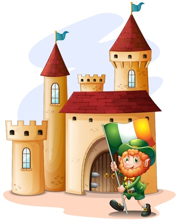 patron saint of ireland: Illustration of a man holding a flag in front of a castle on a white background Illustration