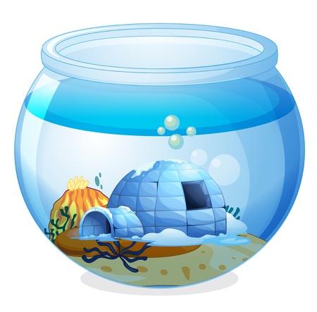 Illustration d'une grotte à l'intérieur de l'aquarium sur un fond blanc