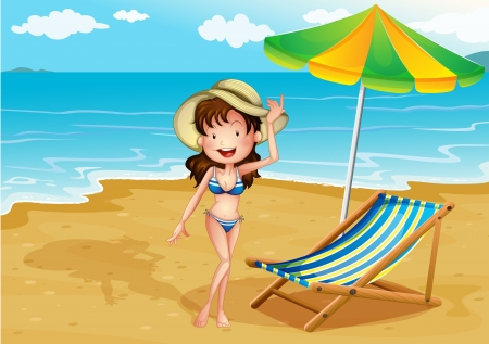 Illustration of a lady enjoying summer at the beach Stock Vector - 18610741