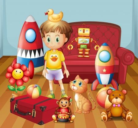 child bedroom: Dibujo de un ni�o dentro de la casa con sus juguetes Vectores