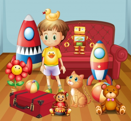 Illustration of a child inside the house with his toys Vector