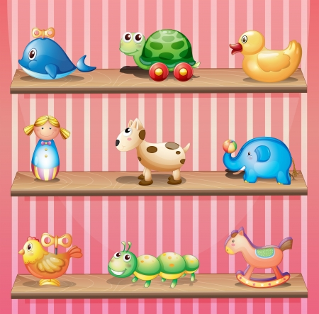 muñecas rusas: Ilustración de una colección de los juguetes de colores