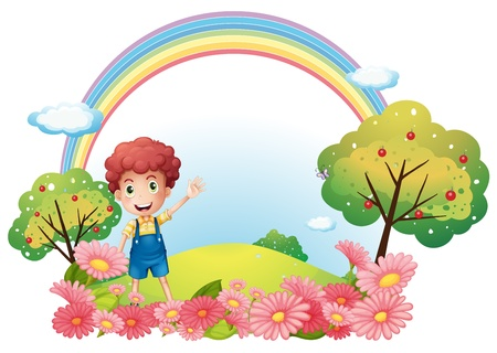 Illustration of a boy at the hill with a rainbow on a white background Stock Vector - 18610724