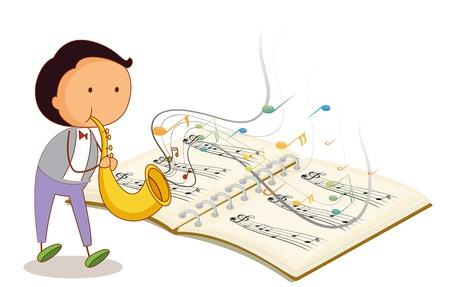 letras musicales: Ilustración de un músico que sostiene una trompeta con un cuaderno musical sobre un fondo blanco Vectores