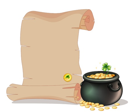 Illustration of a long brown paper beside a pot of gold coins on a white background Vector