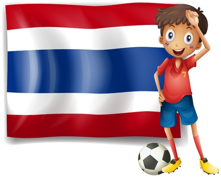Illustration of a football player in front of the Thailand flag on a white background Stock Vector - 18610793