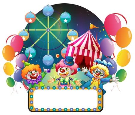 fondo de circo: Ilustración de los tres payasos divertidos en un carnaval en un fondo blanco