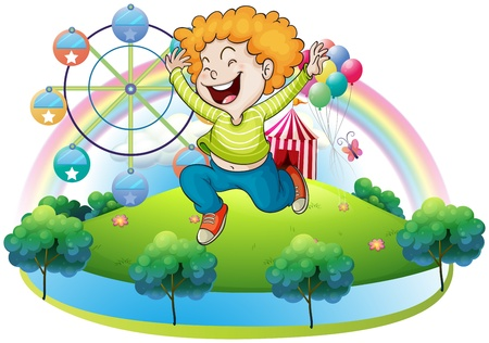 Illustration of a happy kid in an island with a carnival on a white background Stock Vector - 18610643