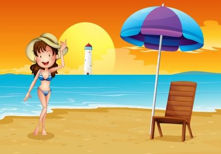 parola: Illustration of a girl at the seashore across the lighthouse Illustration