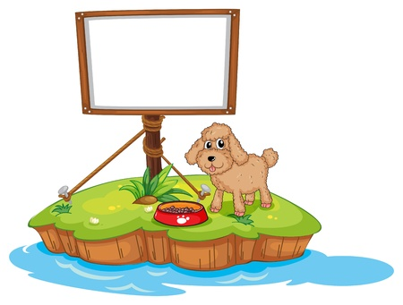 Illustration of an empty frame near a puppy on a white background Vector