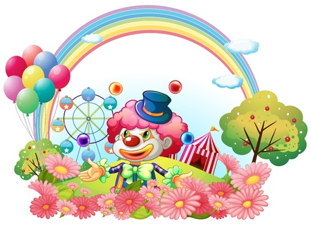 Illustration of a clown in the garden with a carnival at the back on a white background Vector