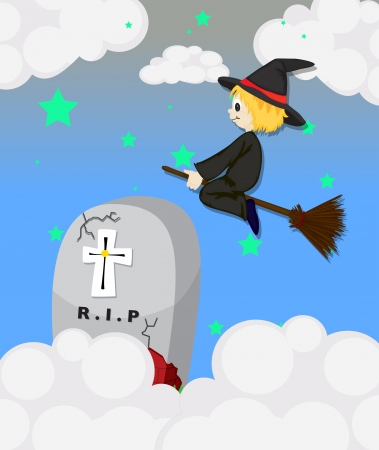 Illustration of a witch at the cemetery