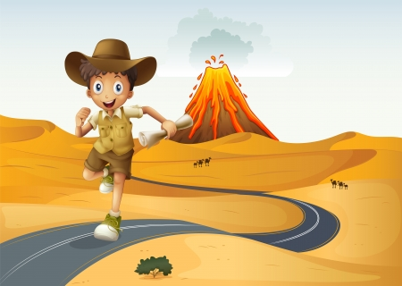 cartoon volcano: Illustration of a boy running along the street holding a rolled paper Illustration