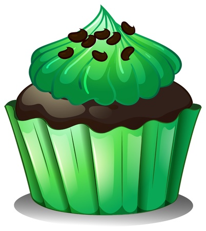 feast of saint patrick: Illustration of a chocolate cupcake with green toppings on a white background