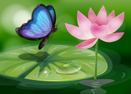 Illustration of a butterfly near the pink flower at the pond