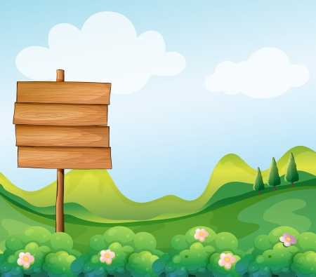 hillside: Illustration of a wooden signboard in the hill