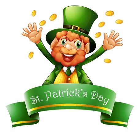 Illustration of a man celebrating St. Patricks Day with coins on a white background  Vector