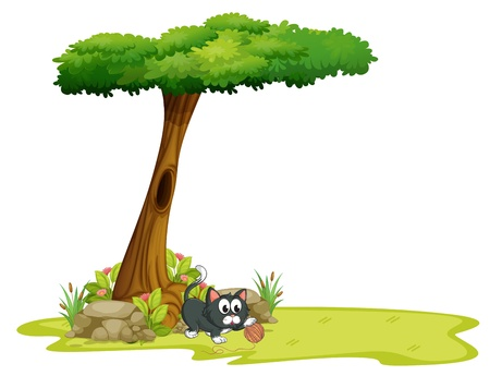 hollow: Illustration of a cat playing under a tree with hollow on a white background