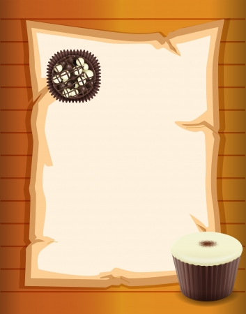 Illustration of an empty paper with chocolates Vector