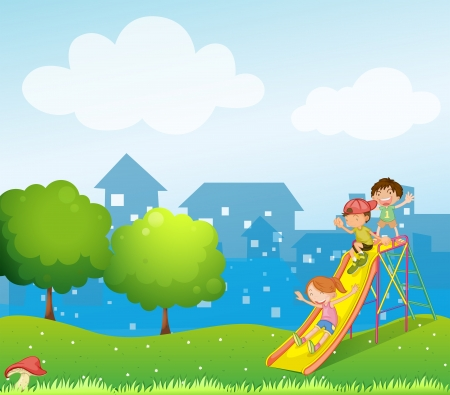 Illustration of the three kids playing at the playground Illustration