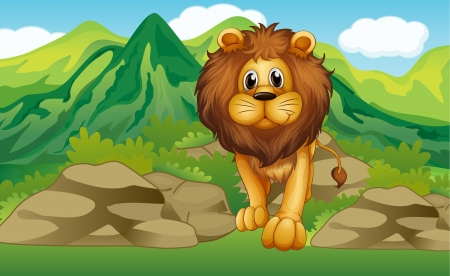 mountain cartoon: Illustration of a lion with a mountain scenery at the back