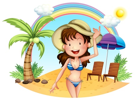 Illustration of a girl in her swimsuit at the beach on a white background Stock Vector - 18662421