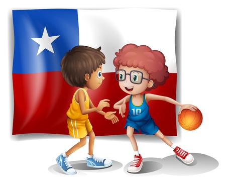 chile flag: Illustration of the basketball players in front of the Chile flag on a white background