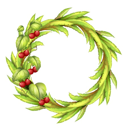 edible leaves: Illustration of a round frame with cherries on a white background Illustration