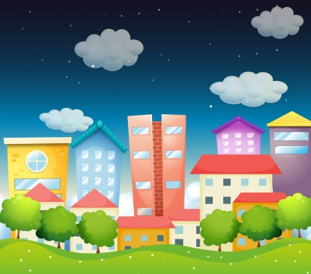 Illustration of the view of the city in the middle of the night Illustration
