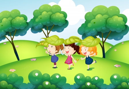 cartoon park: Illustration of the kids playing with the leaves at the hills