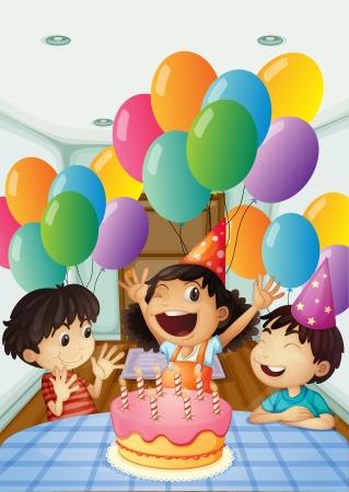 testvérek: Illusztráció egy születésnapi ünneplés léggömbökkel és sütemény