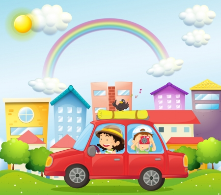 establishments: Illustration of a mother and child in a car with a bird
