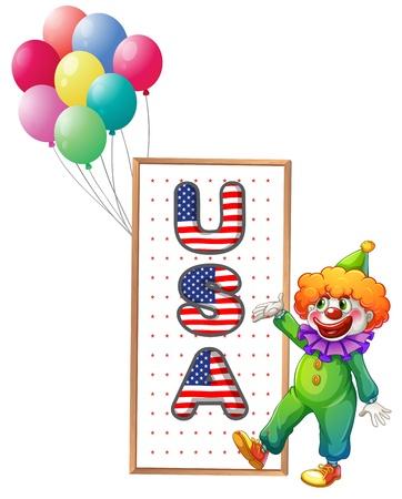 naciones unidas: Ilustración de un payaso al lado de las letras enmarcadas EE.UU. sobre un fondo blanco Vectores