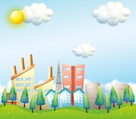 establishments: Illustration of a productive city under the heat of the sun