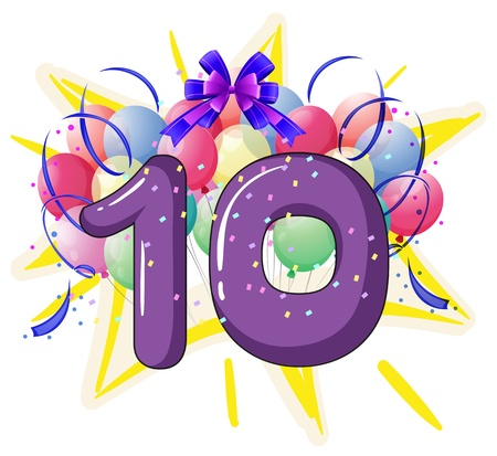 10 number: Illustration of balloons and celebration behind letter