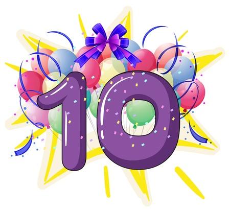 numero diez: Ilustración de globos y celebraciones detrás carta
