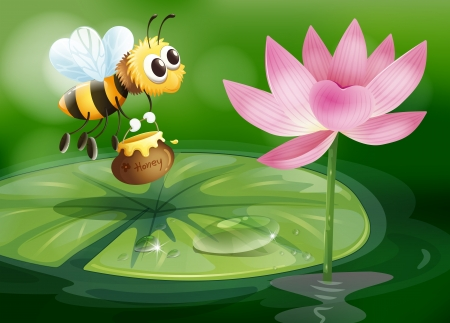 Illustration of a bee with a pot of honey above a waterlily Illustration