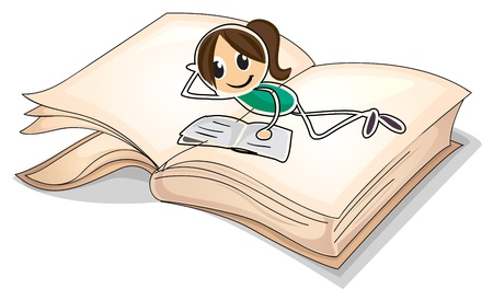 picure: Illustration of a big book with a young girl reading on a white background