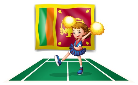 srilanka: Illustration of the flag of Sri Lanka and the cheerdancer with yellow pompoms  on a white background  Illustration