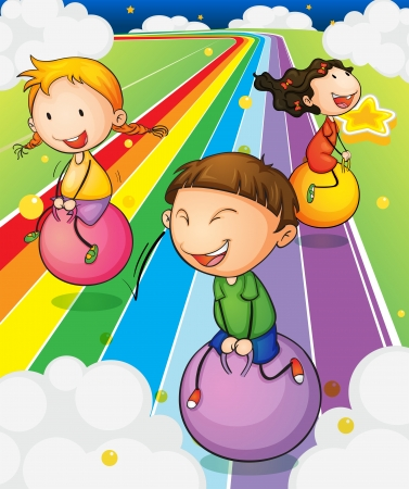 children group: Illustration of the three kids playing with the bouncing balls at the colorful road
