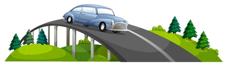 bridge in nature: Illustration of a car passing over the bridge on a white background
