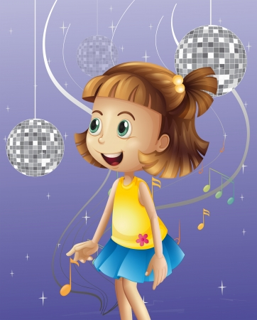 3d image: Illustration of a girl looking at the disco balls  Illustration