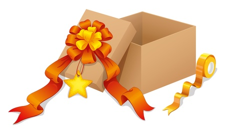 Illustration of a box with a ribbon on a white background Stock Vector - 18716113