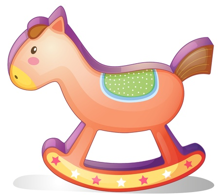 rocking: Illustration of a wooden horse toy on a white background Illustration