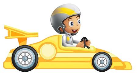course de voiture: Illustration d'un gar�on dans une voiture de course jaune sur un fond blanc Illustration