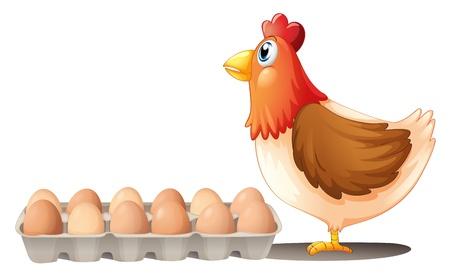 Illustratie van een kip en een dienblad van eieren op een witte achtergrond